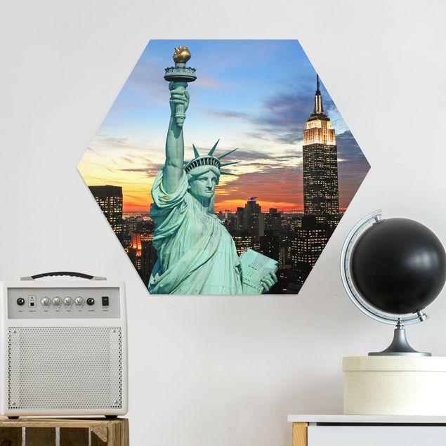 Hexagon Bild Alu-Dibond - New York at Night
