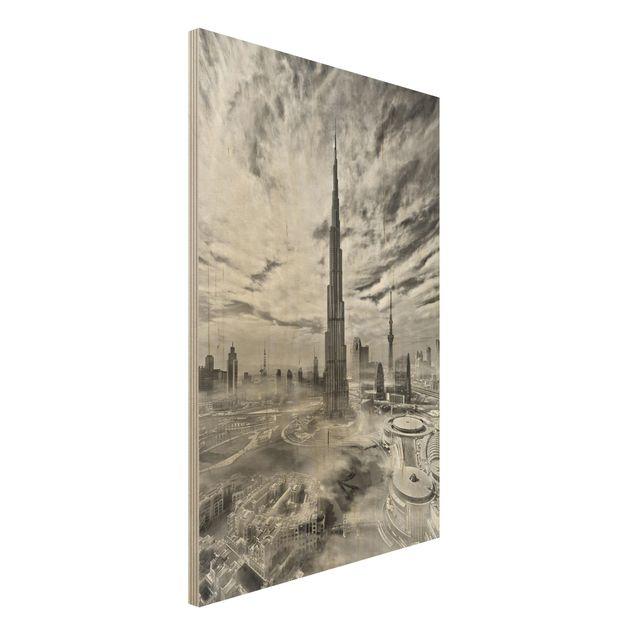 Holzbild - Dubai Super Skyline - Hochformat 3:2