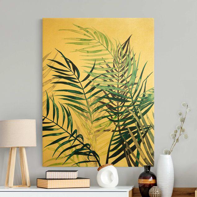 Leinwandbild Gold - Exotisches Blattwerk - Palme - Hochformat 3:4