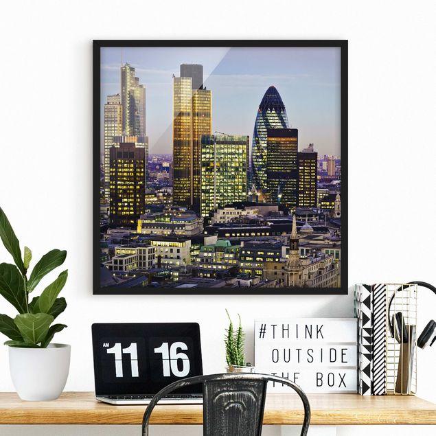 Bild mit Rahmen - London City - Quadrat 1:1