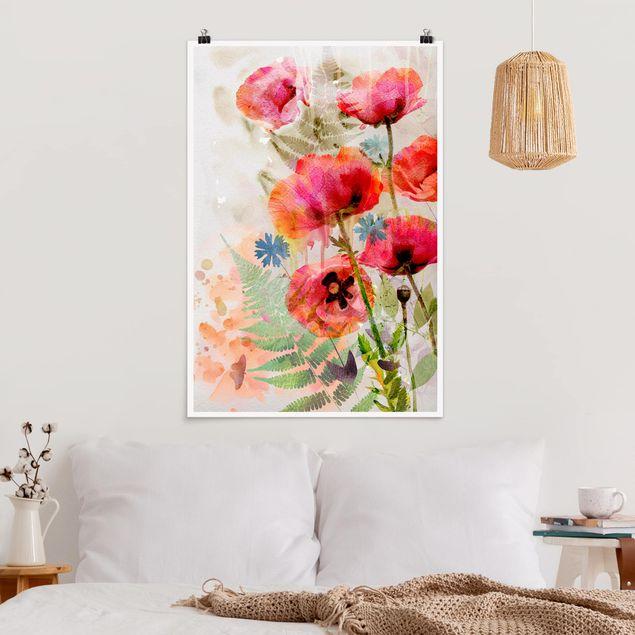 Poster - Aquarell Blumen Mohn - Hochformat 3:2