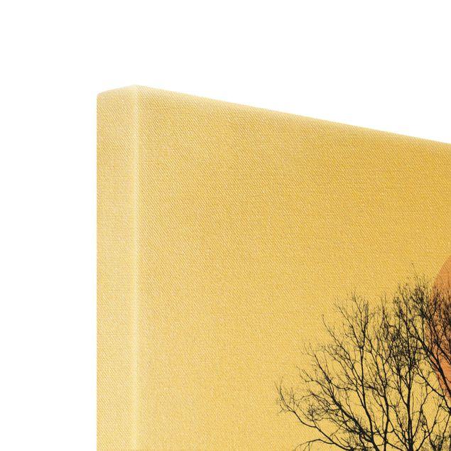 Leinwandbild Gold - Baum im Nachthimmel - Hochformat 2:3