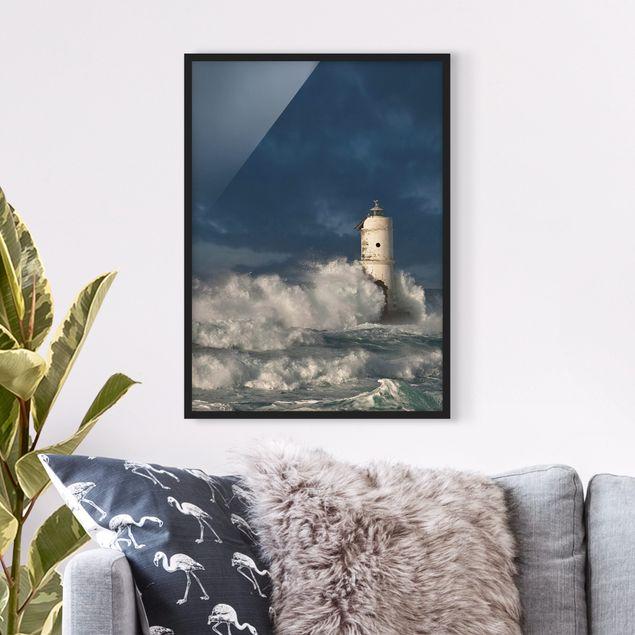 Bild mit Rahmen - Leuchtturm auf Sardinien - Hochformat 3:4