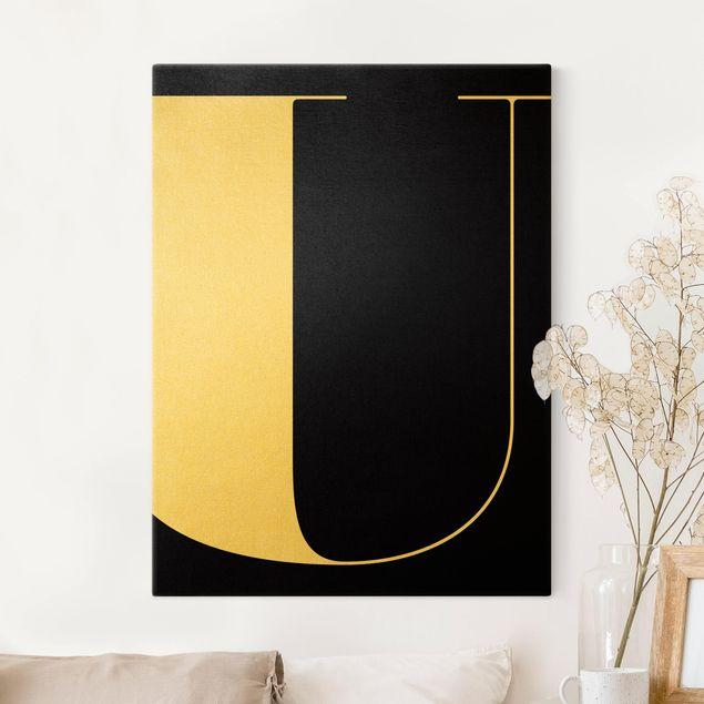 Leinwandbild Gold - Antiqua Letter U Schwarz - Hochformat 3:4