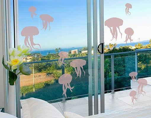 Fensterfolie - Fenstertattoo No.RY27 Quallenschwarm - Milchglasfolie