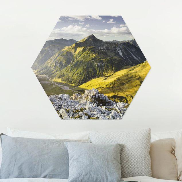 Hexagon Bild Alu-Dibond - Berge und Tal der Lechtaler Alpen in Tirol