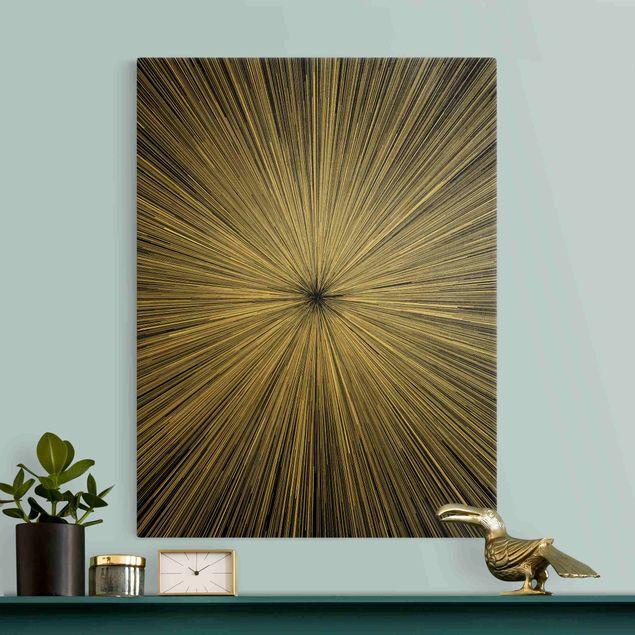Leinwandbild Gold - Abstrakte Strahlen Schwarz Weiß - Hochformat 3:4