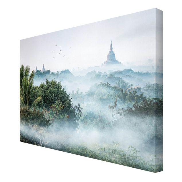 Leinwandbild - Morgennebel über dem Dschungel von Bagan - Querformat 3:2