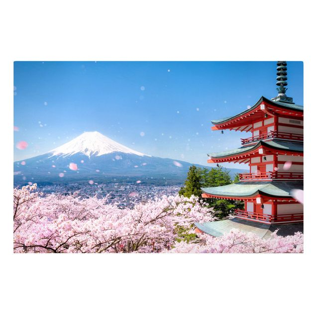 Leinwandbild - Chureito Pagode und Fuji - Querformat 3:2