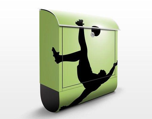 Wandbriefkasten - Fußballer in Aktion - Briefkasten Grün