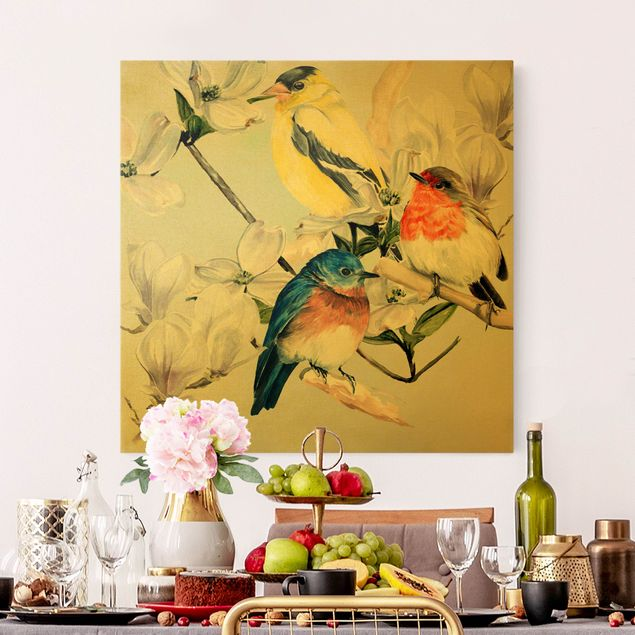Leinwandbild Gold - Bunte Vögel auf einem Magnolienast II - Quadrat 1:1
