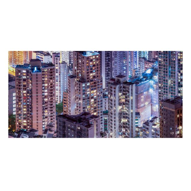 Leinwandbild - Hongkong Lichtermeer - Querformat 2:1