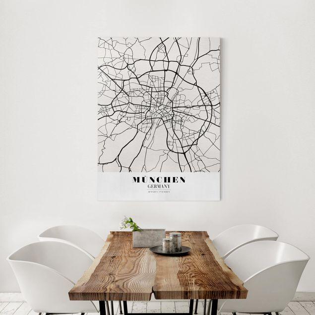 Leinwandbild - Stadtplan München - Klassik - Hochformat 4:3