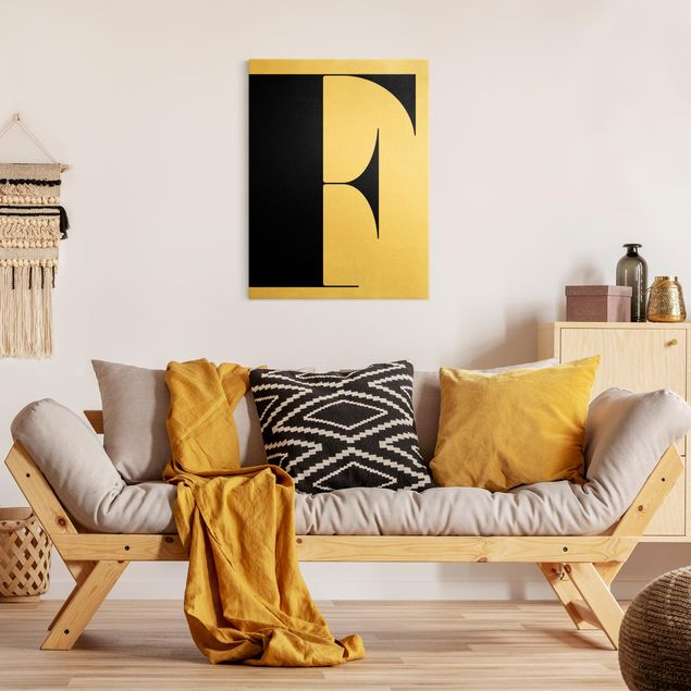Leinwandbild Gold - Antiqua Letter F - Hochformat 3:4