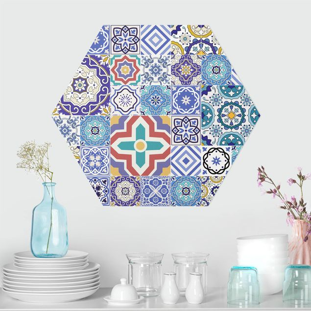 Hexagon Bild Alu-Dibond - Fliesenspiegel - Aufwändige Portugiesische Fliesen