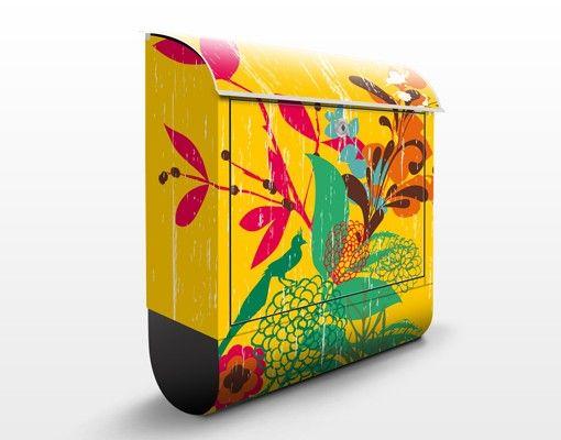 Briefkasten mit Zeitungsfach - Grunge Garden - Blumen Bunt
