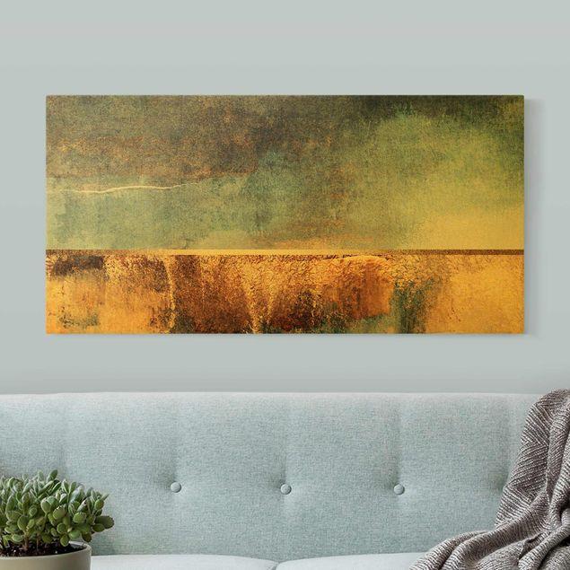 Leinwandbild Gold - Abstraktes Seeufer in Gold - Querformat 2:1