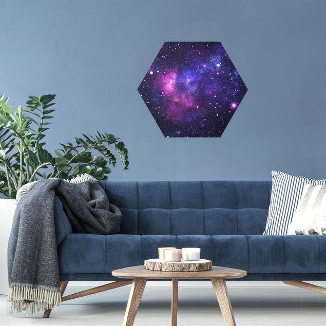 Hexagon Bild Alu-Dibond - Galaxie