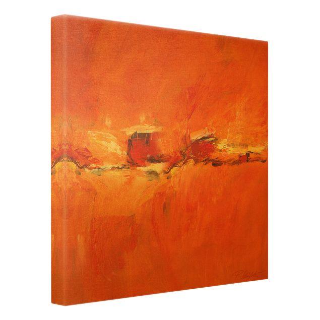 Leinwandbild Gold - Komposition in Orange - Quadrat 1:1
