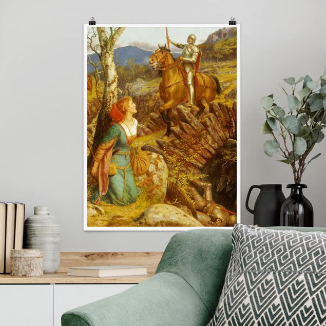 Poster - Arthur Hughes - Der Sturz des Rostigen Ritters - Hochformat 3:4