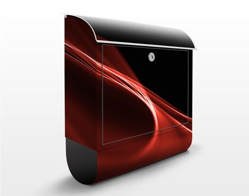 Briefkasten mit Zeitungsfach - Red Wave - Modern Rot