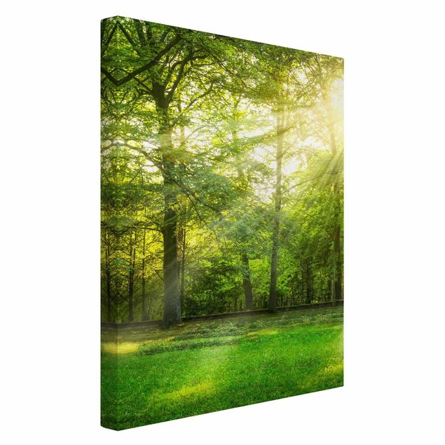 Leinwandbild - Spaziergang im Wald - Hochformat 2:3