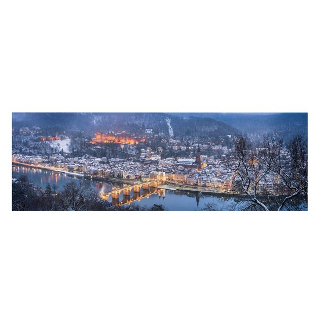 Leinwandbild - Winterliches Heidelberg - Panorama 3:1