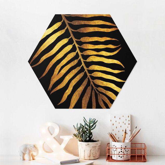 Hexagon Bild Forex - Gold - Palmenblatt II auf Schwarz