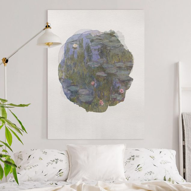 Leinwandbild - Wasserfarben - Claude Monet - Seerosen (Nympheas) - Hochformat 4:3