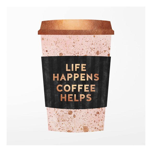 Glas Spritzschutz - Life Happens Coffee Helps Gold - Quadrat - 1:1