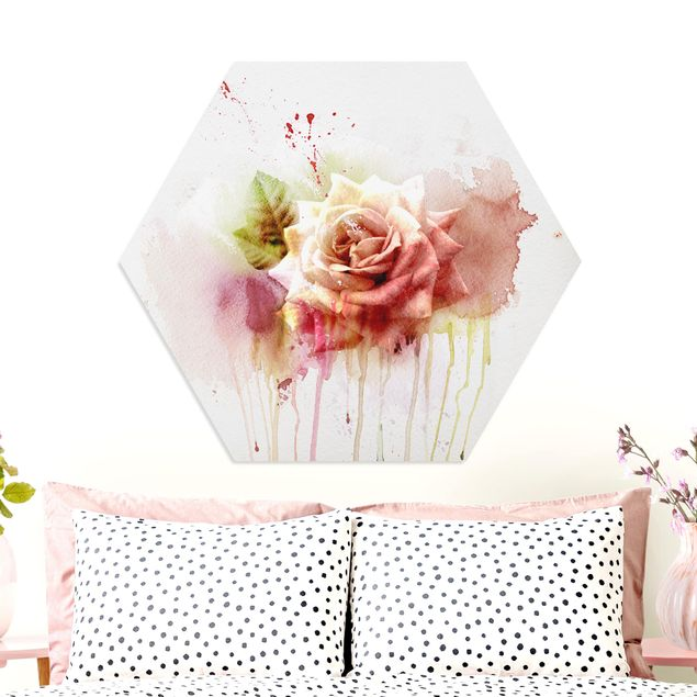 Hexagon Bild Forex - Aquarell Rose