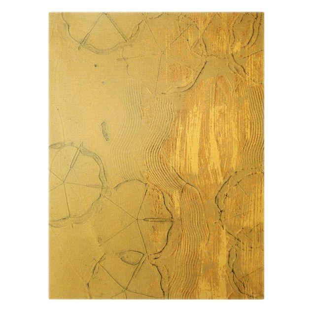 Leinwandbild Gold - Kirschblütensaison Gold II - Hochformat 3:4