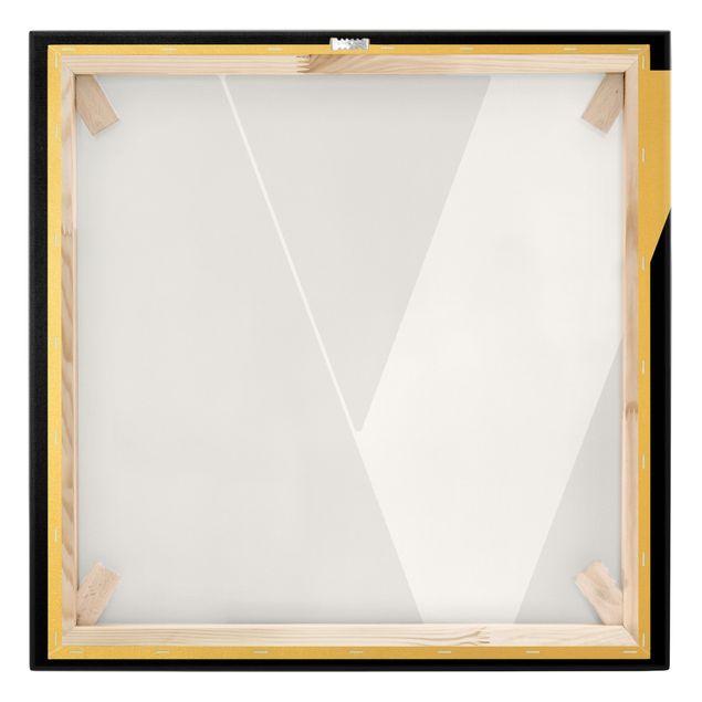 Leinwandbild Gold - Antiqua Letter V Schwarz - Quadrat 1:1