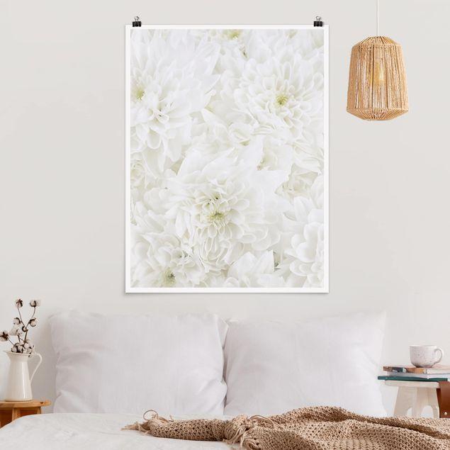 Poster - Dahlien Blumenmeer weiß - Hochformat 3:4