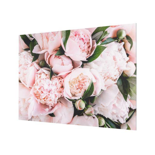 Glas Spritzschutz - Rosa Pfingstrosen mit Blättern - Querformat - 4:3
