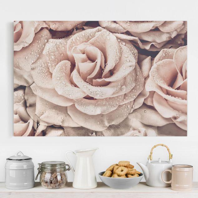 Leinwandbild - Rosen Sepia mit Wassertropfen - Querformat 2:3