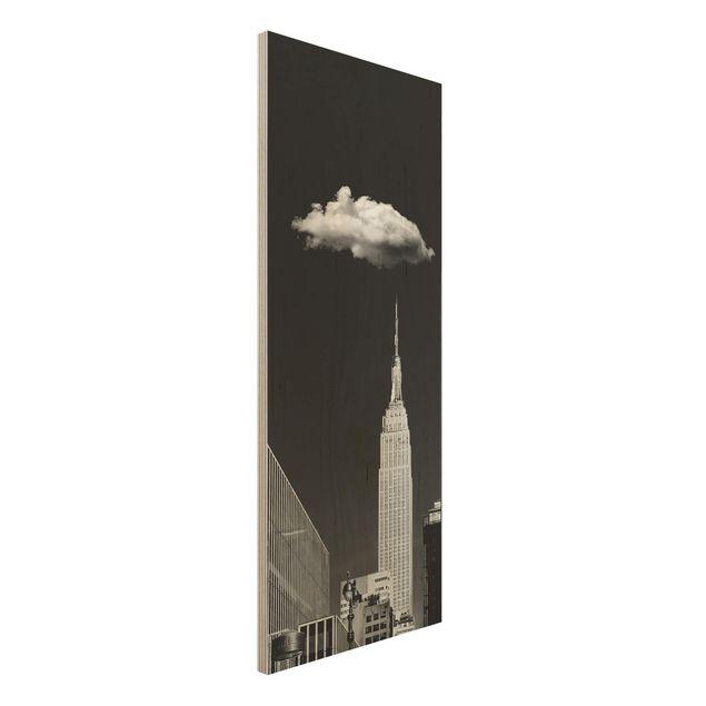 Holzbild - New York mit einzelner Wolke - Panel