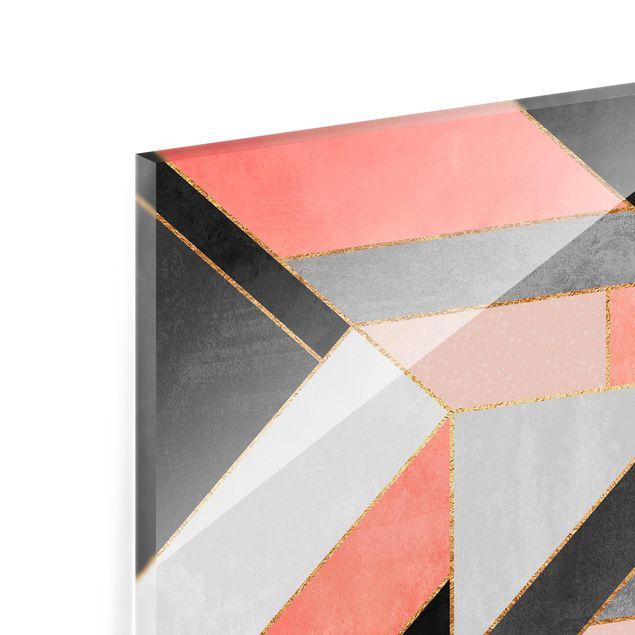 Glas Spritzschutz - Geometrie Rosa und Gold - Quadrat - 1:1