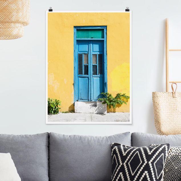 Poster - Bunte Wand blaue Tür - Hochformat 3:4