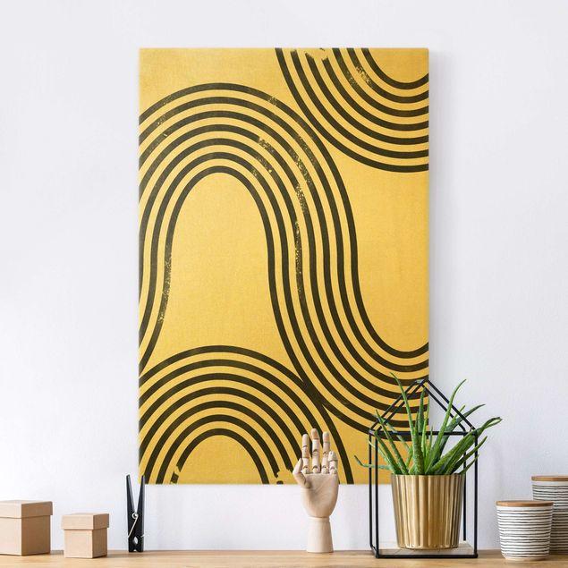 Leinwandbild Gold - Geometrische Wellen Schwarz Weiß I - Hochformat 2:3