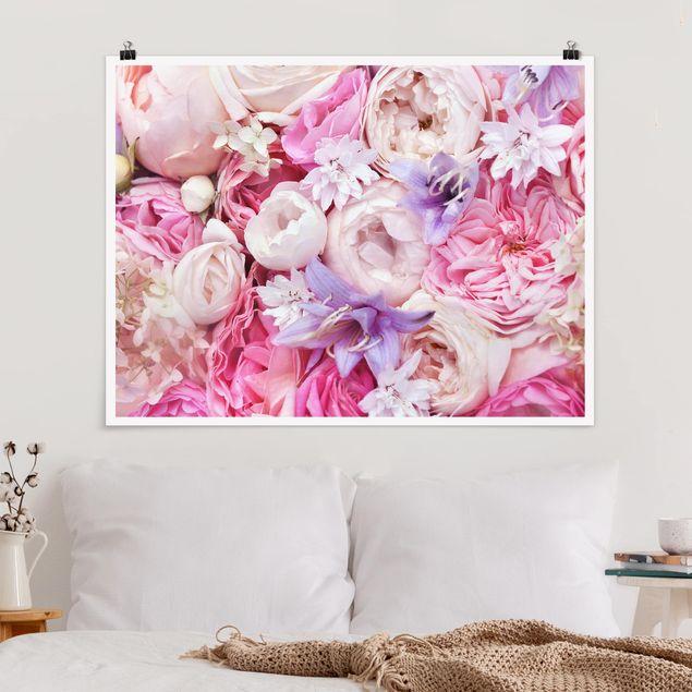 Poster - Shabby Rosen mit Glockenblumen - Querformat 3:4