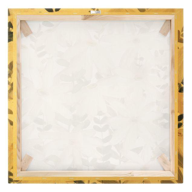 Leinwandbild Gold - Gänseblümchenfeld Weiß Gold - Quadrat 1:1