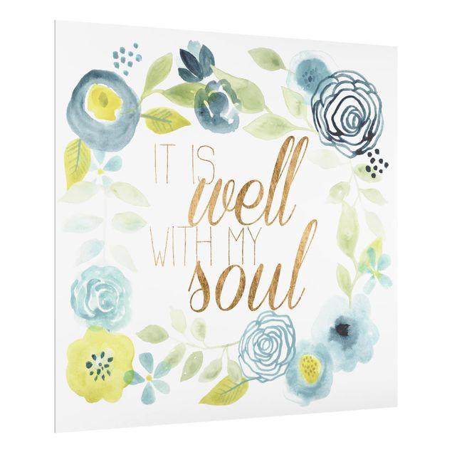 Glas Spritzschutz - Blumenkranz mit Spruch - Soul - Quadrat - 1:1