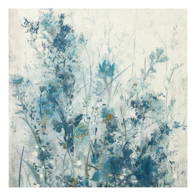 Glas Spritzschutz - Blaue Frühlingswiese I - Quadrat - 1:1