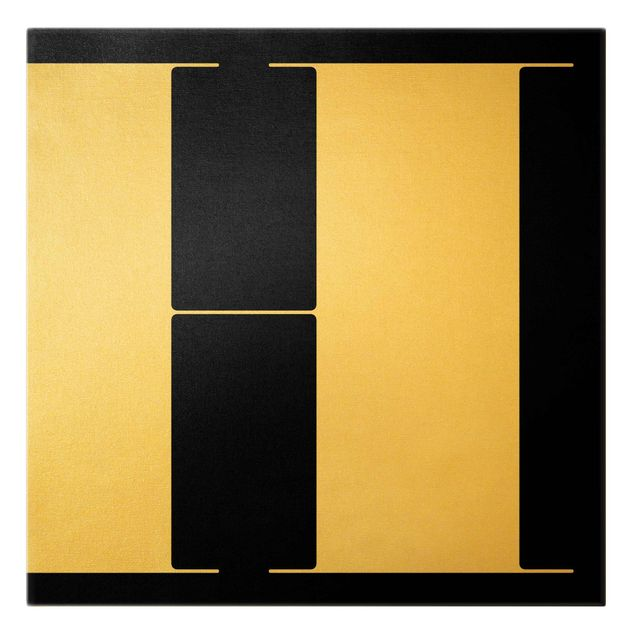 Leinwandbild Gold - Antiqua Letter H Schwarz - Quadrat 1:1