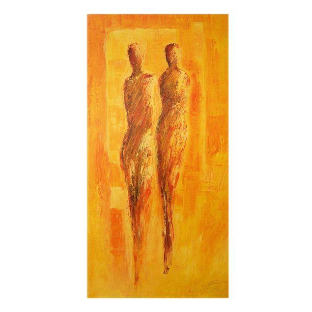 Leinwandbild Gold - Die Begegnung - Hochformat 1:2