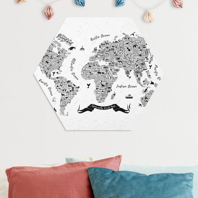 Hexagon Bild Forex - Typografie Weltkarte weiß