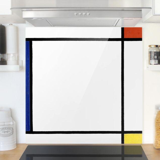 Spritzschutz Glas - Piet Mondrian - Komposition III - Quadrat 1:1