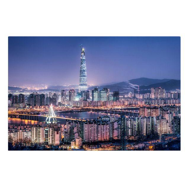 Leinwandbild - Lotte World Tower bei Nacht - Querformat 3:2