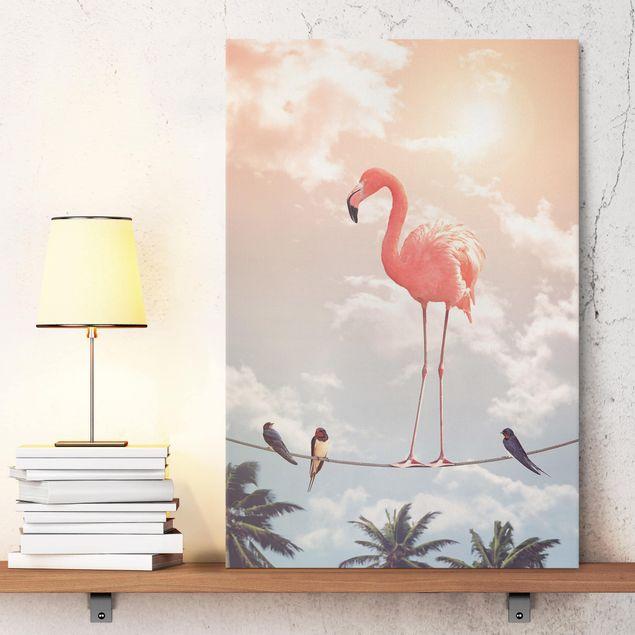 Leinwandbild - Jonas Loose - Himmel mit Flamingo - Hochformat 3:2